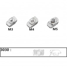 Т-гайка для станочного профиля 3030, М4 М5 М6