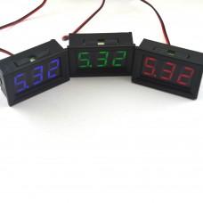 Встраиваемый цифровой вольтметр 4.5 - 30В (красный, синий, зеленый)